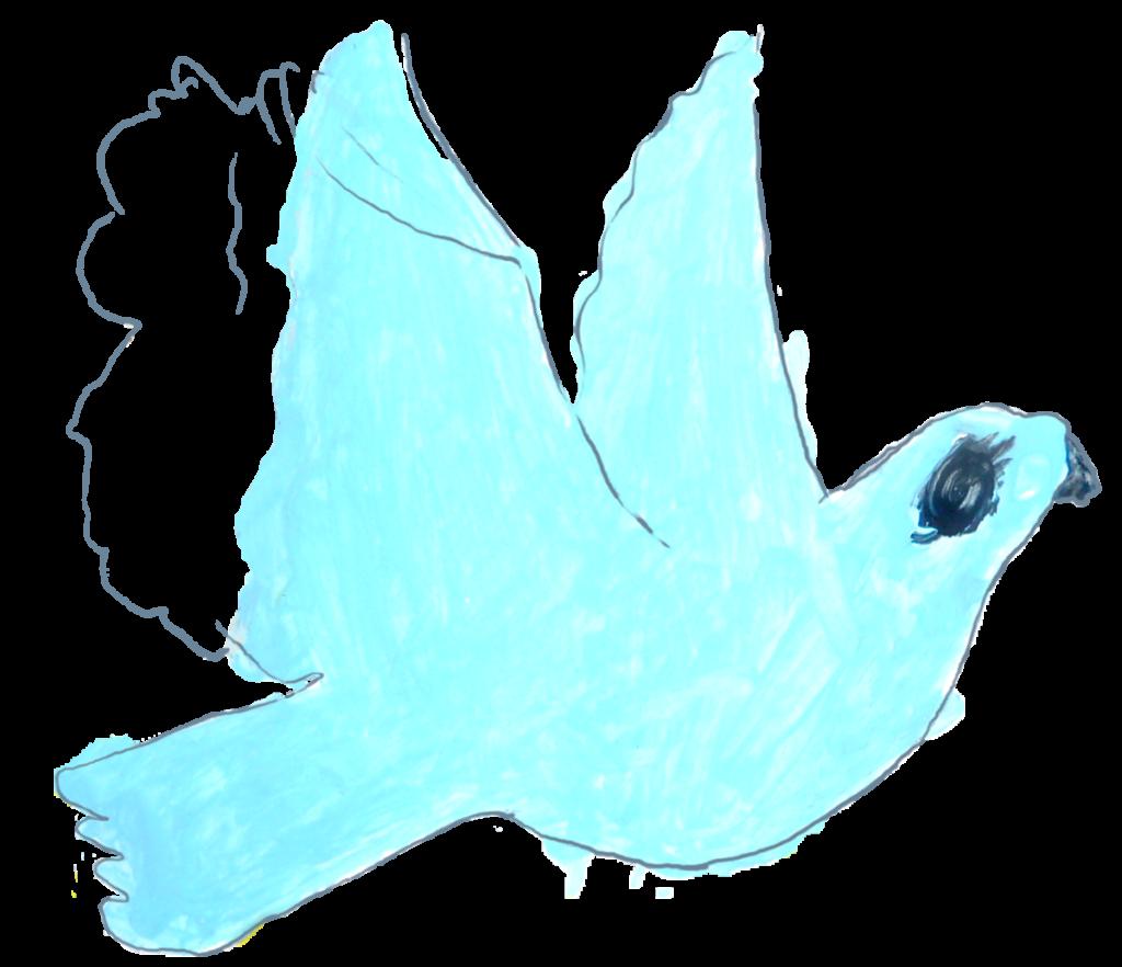 """Chahinez, colombe peinte pendant le """"Semeur Camp"""", février 2021."""