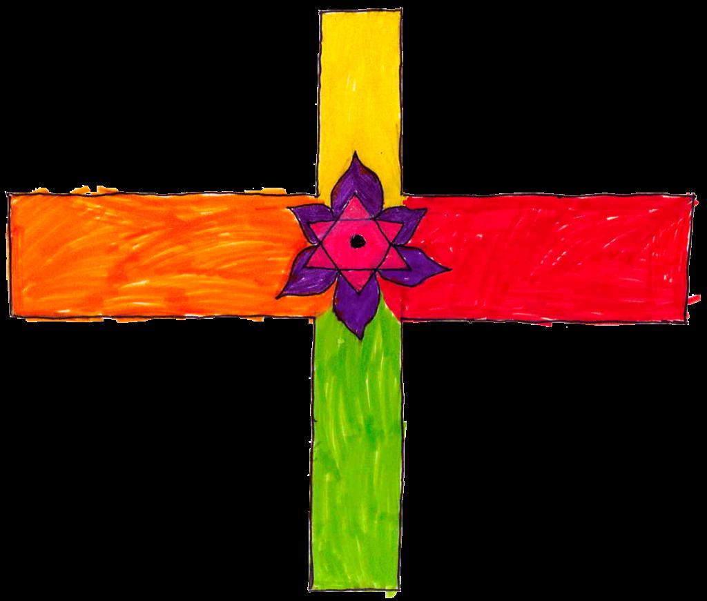 Chahinez, Croix avec étoile de David entourée de pétales, février 2021.