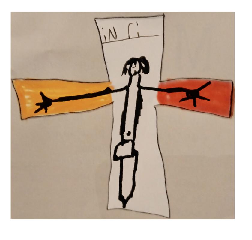 Mickaël, Jésus en croix avec l'écriteau INRI, novembre 2019.