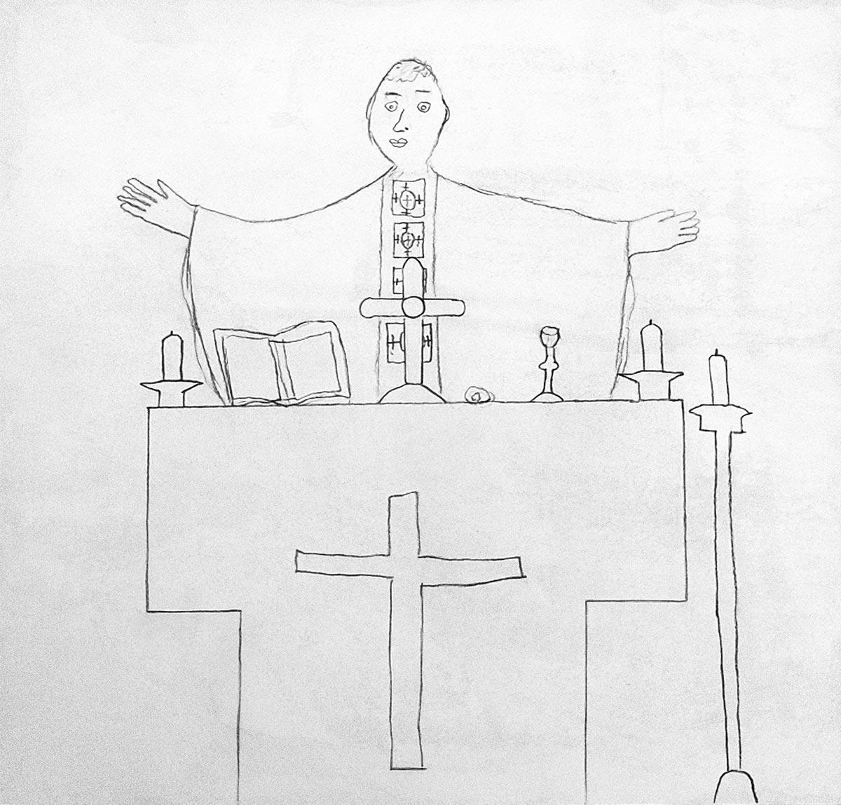 Olivier, Célébration eucharistique, mars 2021.