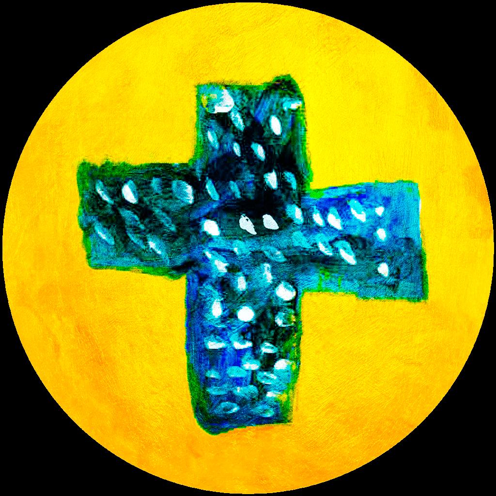 Candice, Croix bleue à pois blancs nimbée de jaune d'or, février 2021.