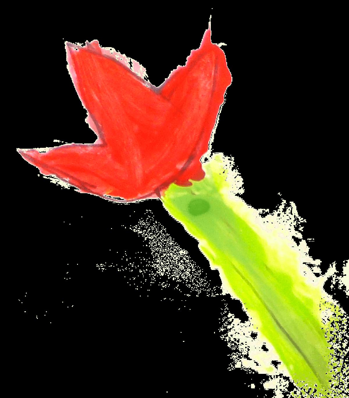 """Chahinez, tulipe verte peinte pendant le """"Semeur Camp"""", février 2021."""
