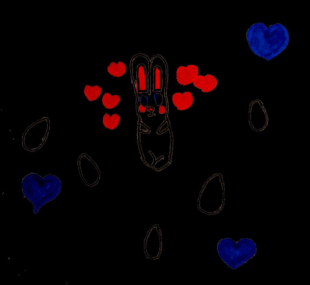 Gisèle, lapins et cœurs, mars 2021.